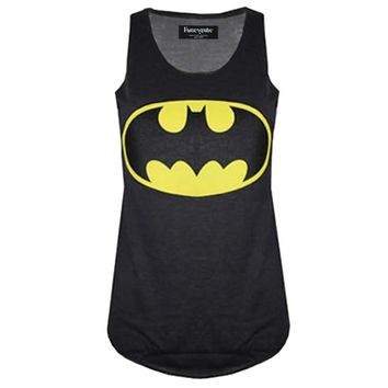 Casual sleeveless tank top women digital print batman/spiderman/superman 3d superhero vest woman