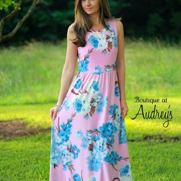 Pink and Blue Floral Print Maxi Dress - Boutique At Audrey's