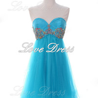 Charming blue rhinestone mini prom dress / homecoming dress