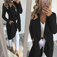 Boutique Woman's Long Open Front Waterfall Cardigan- 4 Colors