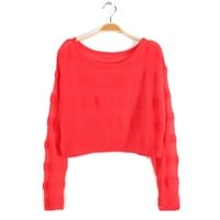 ZLYC Column Scoop Neck Puff Sleeve Kniting Solid Color Thin Sweater For Women