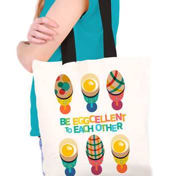 Easter Eggcellent Tote Bag with Colourful Funny Egg Illustration