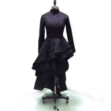 Long sleeves sexy lace appliques prom evening dresses black
