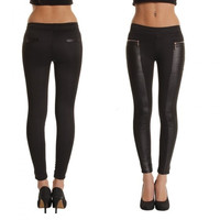 Fashion Women Leggings Leather Look Panels Elastic Waist Stretchy Skinny Pants Trousers = 1932395268