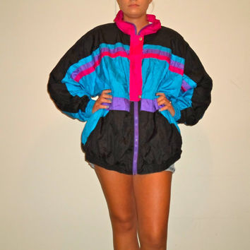 90s windbreaker jacket, bright colorful wind breaker coat, 1990s track jacket