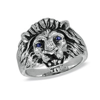 Men's Lion Ring with LabCreated Sapphire in Sterling by NaomisCo2