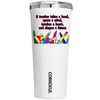 Corkcicle A Teacher Takes a Hand on White 24 oz Tumbler Cup