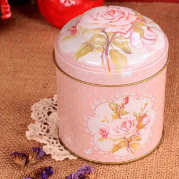 Retro Style Pink Rose Flower Kitchen Coffee Tea Sugar Metal Container Jar Tin