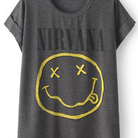 "Grey Cuffed ""NIRVANA"" T-Shirt"