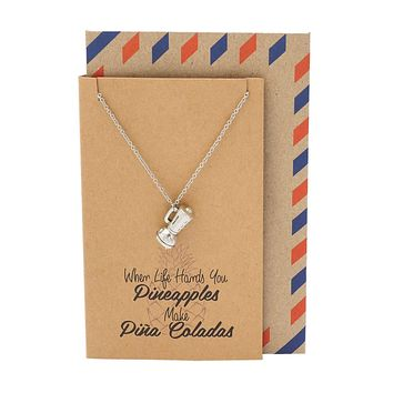 Diane Kitchen Utensil Necklace with Blender Charm Pendant for Women, comes with Inspirational and Motivational Quote