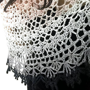 Outlander Claire Ombre Pink to Black Shawl - Jamie's Choice - Crocheted Fraser Gabaldon FREE SHIPPING