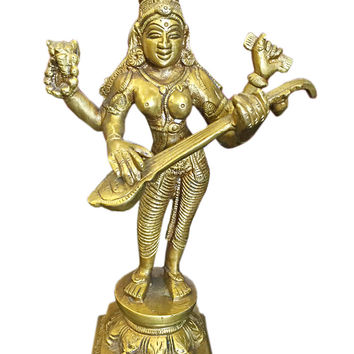 Indian Statues Goddess Saraswati Playing Veena Brass Statue India Music & Art Sculpture 8 Inch