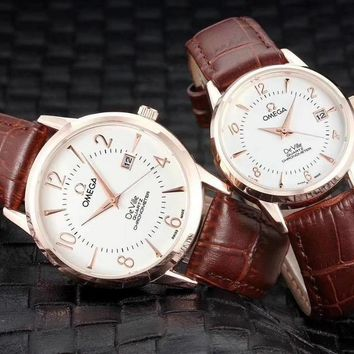 PEAP O015 Omega Quartz Chronometer DeVille Simple Cowhide Strap Lovers Watches Maroon White