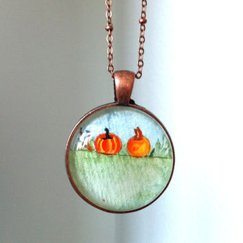 Pumpkin Pendant Necklace Hand Painted Pendant Cute Necklace Copper & Glass Autumn Necklace Fall Jewelry Thanksgiving Halloween Gift Handmade