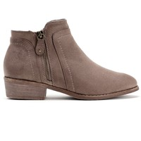 Taupe Side Step And Zip Booties