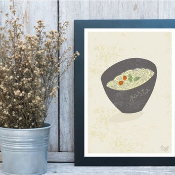 Print of kitchen decor poster - pasta - love cooking -  Wall Art, wall decor, Retro poster, Kitchen art print, Modern Kitchen, Home decor
