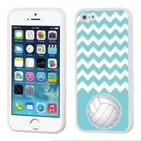One Tough Shield ® Hybrid Flexible/Rigid Phone Case (White Bezel) for Apple iPhone 5 5s - (Chevron/Teal/Volleyball)