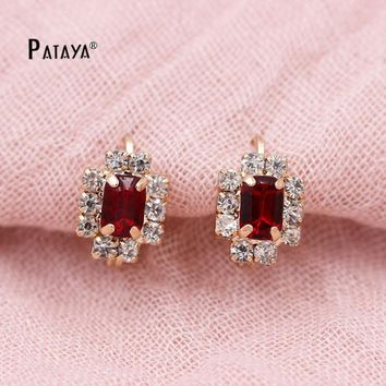 PATAYA Geometry Vintage Earrings 585 Rose Gold Bohemian White Red Square Natural Cubic Zirconia Jewelry Indian Women Earrings
