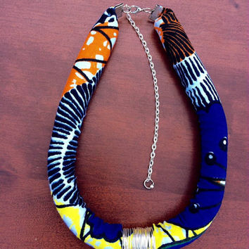 Blue and yellow Ankara Dutch wax African print Vlisco kitenge chitenge fabric rope bib tribal statement necklace