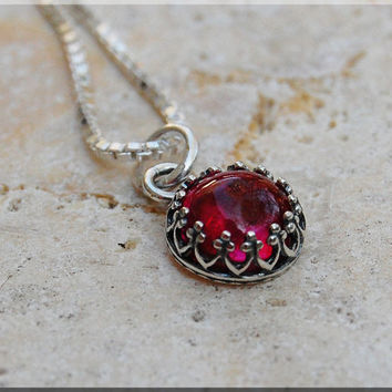 Ruby Gemstone Charm Necklace, Ruby Pendant, Gemstone Charm, Ruby Gemstone Jewelry, Sterling Silver charm Necklace, Gold Filled Necklace