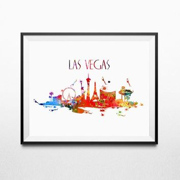 Las Vegas Skyline Silhouette Watercolor Art Painting Home Decor City Wall Art Print Hotel Decor No Frame L219