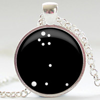 Pisces Constellation Necklace, Zodiac Charm in Your Choice of Finish (1232)