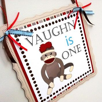 Sock Monkey Welcome Door Sign Personalized for Kids Party Celebration | adorebynat - Seasonal on ArtFire
