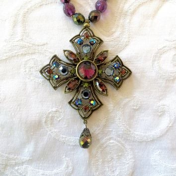 Vintage Maltese Cross Necklace, Glass Beads, Iridized Stones, Malta Cross Jewelry, Heraldic Necklace