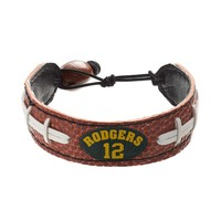 GameWear Green Bay Packers Aaron Rodgers Leather Football Bracelet