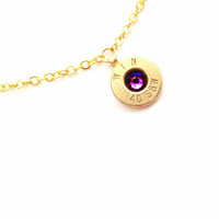 Amethyst February Bullet Birthstone Necklace