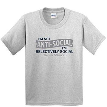 I'm Not Anti-Social I'm Selectively Cool Sarcastic Novelty Graphic Funny T Shirt