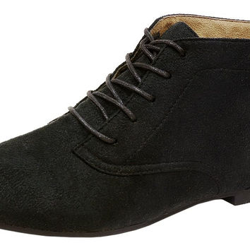 Spicy Women's F704 Lace-Up Closed Toe Chukka Flat Heel Ankle Bootie Black Suede 9 B(M) US '