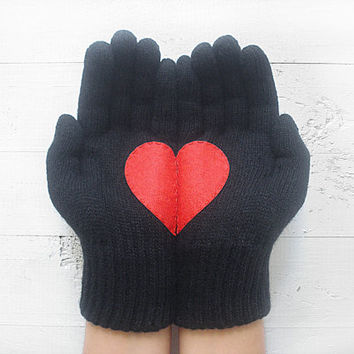 Heart Gloves, Christmas Gift, Black Gloves, Red Heart, Special Gift, Gift For Her, Xmas Gift, Holiday Gift, Lover Gift, Unique, Gift Trend