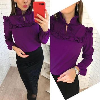 CREYLD1 Women Fashion Elegant Ruffles Tops 2018 Spring Summer New V-Neck Long Sleeve Casual Party Office Purple blouse Shirt plus size