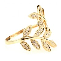 mytheresa.com -  14kt yellow Gold Wrap Leaves ring with white pave diamonds  - Luxury Fashion for Women / Designer clothing, shoes, bags