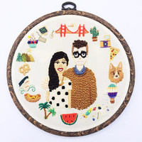 Hand Embroidered Custom Portrait with a Personalized Border by İrem Yazıcı
