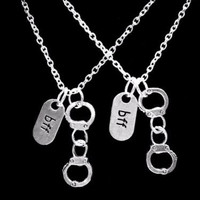 Handcuff Bff Best Friends Friend Partners In Crime Gift Necklace Set