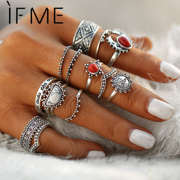 IF ME Vintage Bohemian Midi Finger Rings Set for Women Moon Sun Ethnic Red Natrual Stone Knuckle Rings Jewelry Gift 14pcs/set