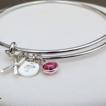 Breast Cancer Awareness Bangle 10% Donation Proceeds Jewelry Ribbon Bracelet Sterling Silver Ribbon Pink Crystal Gift Fight Remembrance