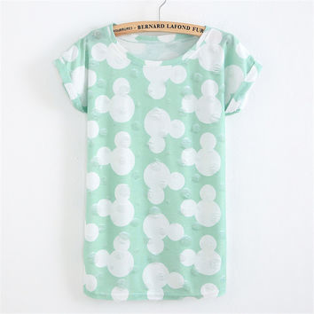 Summer Fashion Tassel Design Hole T-shirt Micky Mouse Print Frayed T Shirts Female Short Sleeve Sexy Thin Ladies Tops