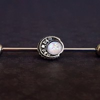 Boho Filigree Moon Opal Industrial Barbell (14G)