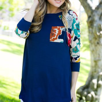 Navy 3/4 Sleeve Floral Contrast Top