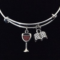 Wine and a Good Book Expandable Charm Bracelet Adjustable Bangle Women's Birthday Gift Book Club One Size Fits All Gift