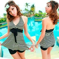 Korean Fashion Halter Backless Stripe Solid Tankini Women Swimwear SEXY 1bN