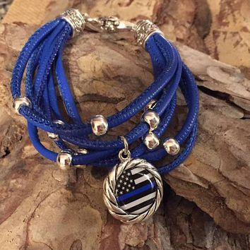 Police thin blue line awareness leather bracelet