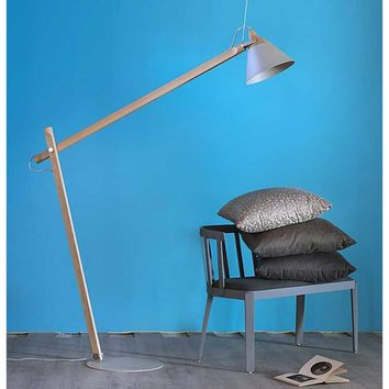 Direct light with swing arm adjustable wooden floor lamp Slope Collection by Miniforms | design Skrivo