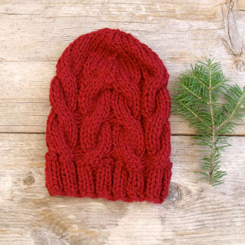 Women's Chunky Cable Knit Hat in Cranberry Red, Slouchy Beanie, Cable Knit Hat, Dark Red, Chunky Hat, Chunky Beanie, Red Hat, Long Hat