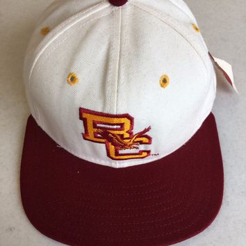 DELONG BOSTON COLLEGE GOLDEN EAGLES MAROON FLAT BRIM FITTED HAT SHIPPING