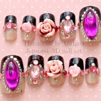 Japanese nail art, elegant gothic lolita, 3D nails, egl, deco nails, bling, black french, french tips, rose, flower, gyaru, hime