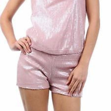 Angela Pink Sequin Shorts Jumpsuit